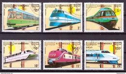 Kampuchea 1989 Oblitéré - Trains - Michel Nr. 1007-1012 (cam340) - Kampuchea