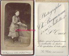 CDV Vers 1890-jolie Jeune Fille à La Mode Du Temps-photo Becquereau à Saint Omer - Photos