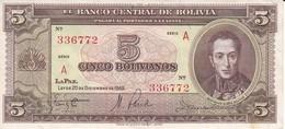 BILLETE DE BOLIVIA DE 5 BOLIVIANOS DEL AÑO 1945  SERIE A CALIDAD EBC (XF) (BANKNOTE) - Bolivia
