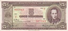 BILLETE DE BOLIVIA DE 5 BOLIVIANOS DEL AÑO 1945  SERIE F CALIDAD EBC (XF) (BANKNOTE) - Bolivia