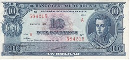 BILLETE DE BOLIVIA DE 10 BOLIVIANOS DEL AÑO 1945  SERIE A CALIDAD EBC (XF) (BANKNOTE) - Bolivia