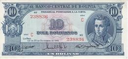 BILLETE DE BOLIVIA DE 10 BOLIVIANOS DEL AÑO 1945  SERIE C CALIDAD EBC (XF) (BANKNOTE) - Bolivia