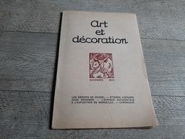 Revue Art Et Décoration Nov 1922 Dessins Chadel étienne Avenard Juho Rissanen Afrique  Exposition Marseille Planche - Art