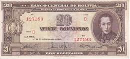 BILLETE DE BOLIVIA DE 20 BOLIVIANOS DEL AÑO 1945  SERIE D CALIDAD EBC (XF) (BANKNOTE) - Bolivia