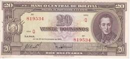 BILLETE DE BOLIVIA DE 20 BOLIVIANOS DEL AÑO 1945  SERIE Q CALIDAD EBC (XF)  (BANKNOTE) - Bolivia
