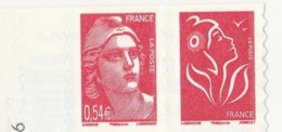 2006 60 ANNIVERSAIRE DE MARIANNE GANDON EN PAIRE AUTO ADHESIF P96+3744B NEUF ISSU DU CARNET ** - 2004-08 Maríanne De Lamouche