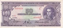 BILLETE DE BOLIVIA DE 50 BOLIVIANOS DEL AÑO 1945  SERIE A CALIDAD EBC (XF) (BANKNOTE) - Bolivia