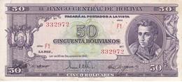 BILLETE DE BOLIVIA DE 50 BOLIVIANOS DEL AÑO 1945  SERIE F1 CALIDAD EBC (XF) (BANKNOTE) - Bolivia