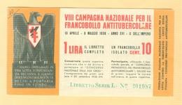 """""""VIII^  CAMPAGNA NAZIONALE FRANCOBOLLO ANTITUBERCOLARE""""1938 -LIBRETTO COMPLETO, - Malattie"""