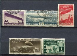 RUSSIE -  Yv N° PA 22 à 26 Complet   (o)  Dirigeable   Cote  38  Euro  BE  2 Scans - 1923-1991 USSR
