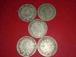 LOT DE 5 MONNAIES FRANÇAISES CÉRÈS  48.60 GRAMMES D'ARGENT 3 X 1871 A K 1873 A 1881 A Non Nettoyé - I. 2 Francs