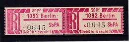DDR, Dienst, Einschreibemarken  Ax 1092**  Mi. 10,- Euro (T 14188) - Oficial