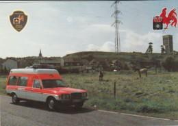 Belgique Charleroi - Le Service D'incendie Dans La Ville - Ambulance Mercedes - Sapeurs-pompiers - Pompiers