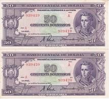PAREJA CORRELATIVA DE BOLIVIA DE 50 BOLIVIANOS DEL AÑO 1945  SERIE A CALIDAD EBC (XF) (BANKNOTE) - Bolivia