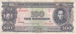 BILLETE DE BOLIVIA DE 100 BOLIVIANOS DEL AÑO 1945  SERIE A  (BANKNOTE) - Bolivia
