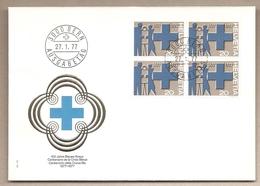 Svizzera - Busta FDC In Quartina: Centenario Della Croce Blu - 1977 - Primo Soccorso