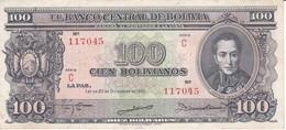 BILLETE DE BOLIVIA DE 100 BOLIVIANOS DEL AÑO 1945  SERIE C  (BANKNOTE) - Bolivia