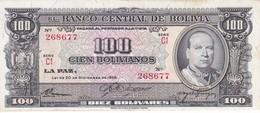 BILLETE DE BOLIVIA DE 100 BOLIVIANOS DEL AÑO 1945  SERIE C1  (BANKNOTE) - Bolivia