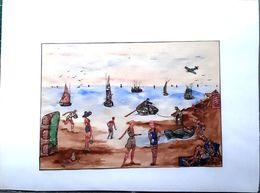 TIMBRE DECOUPE FORMANT UN TABLEAU ORIGINAL BELLE COMPOSITION ORIGINALE AVECDES CENTAINES DE DECOUPIS 1948  25 X 17 CM - Timbres (représentations)