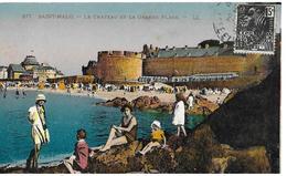 35 St Malo     Le Chateau Et Grande Plage Animée - Saint Malo