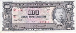 BILLETE DE BOLIVIA DE 100 BOLIVIANOS DEL AÑO 1945  SERIE D1 CALIDAD EBC (XF) (BANKNOTE) - Bolivia