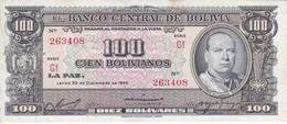 BILLETE DE BOLIVIA DE 100 BOLIVIANOS DEL AÑO 1945  SERIE G1  (BANKNOTE) - Bolivia