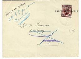 BELGIQUE 1932: Le Y&T 316 Seul Sur  Imprimé Pour Ligne, Retour à L'envoyeur à Tournai Cause Décès - Belgique