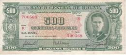 BILLETE DE BOLIVIA DE 500 BOLIVIANOS DEL AÑO 1945  SERIE B (BANKNOTE) - Bolivia