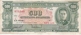 BILLETE DE BOLIVIA DE 500 BOLIVIANOS DEL AÑO 1945  SERIE L (BANKNOTE) - Bolivia