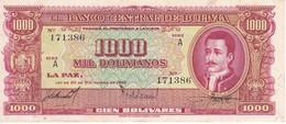 BILLETE DE BOLIVIA DE 1000 BOLIVIANOS DEL AÑO 1945 SERIE A (BANKNOTE) - Bolivia