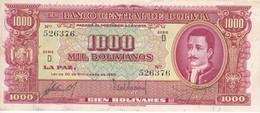 BILLETE DE BOLIVIA DE 1000 BOLIVIANOS DEL AÑO 1945 SERIE D (BANKNOTE) - Bolivia