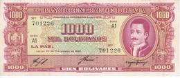 BILLETE DE BOLIVIA DE 1000 BOLIVIANOS DEL AÑO 1945 SERIE A1 CALIDAD EBC (XF) (BANKNOTE) - Bolivia