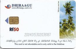 Maldives - Dhiraagu (chip) - Palmtrees - 200401xxxxxx - Chip Siemens S35, 50MRf, Used - Maldiven
