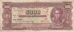 BILLETE DE BOLIVIA DE 5000 BOLIVIANOS DEL AÑO 1945 SERIE A  (BANKNOTE) - Bolivia
