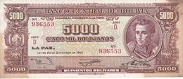BILLETE DE BOLIVIA DE 5000 BOLIVIANOS DEL AÑO 1945 SERIE D  (BANKNOTE) - Bolivia