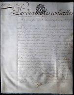 14 CAEN PARCHEMIN CERTIFICAT DE VENTE PAR BOURGUIGNON DUPERRE DE LISLES A D'AIGREMNT EN 1783 - Timbres (représentations)