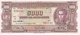 BILLETE DE BOLIVIA DE 5000 BOLIVIANOS DEL AÑO 1945 SERIE H CALIDAD EBC (XF)  (BANKNOTE) - Bolivia