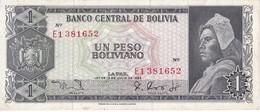 BILLETE DE BOLIVIA DE 1 BOLIVIANO DEL AÑO 1962 SERIE E1 CALIDAD MBC (VF)  (BANKNOTE) - Bolivia