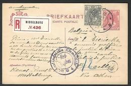 1917 Briefkaart Middelburg Exp Kenes Naar Bruxelles  Dierickx Justice De Paix Vredegerecht Justitie  (Klass Heuroud ) - Entiers Postaux