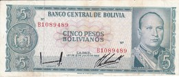 BILLETE DE BOLIVIA DE 5 BOLIVIANOS DEL AÑO 1962 SERIE B (BANKNOTE) - Bolivia