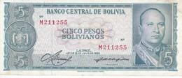 BILLETE DE BOLIVIA DE 5 BOLIVIANO DEL AÑO 1962 SERIE M CALIDAD EBC (XF)  (BANKNOTE) - Bolivia