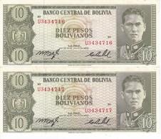 PAREJA CORRELATIVA DE BOLIVIA DE 10 BOLIVIANO DEL AÑO 1962 SERIE U SIN CIRCULAR - UNCIRCULATED  (BANKNOTE) - Bolivia