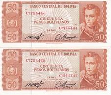 PAREJA CORRELATIVA DE BOLIVIA DE 50 BOLIVIANOS DEL AÑO 1962 SERIE X SIN CIRCULAR - UNCIRCULATED  (BANKNOTE) - Bolivia