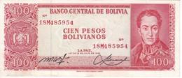 BILLETE DE BOLIVIA DE 100 BOLIVIANOS DEL AÑO 1962 NUMEROS ROJOS  (BANKNOTE) - Bolivia