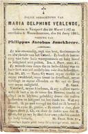 NIEUWPOORT / MANNEKENSVERE - Maria VERLENDE - (Wed. Ph. Jonckheere) - Geboren 1787 En Overleden 1863 - Images Religieuses