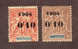 Martinique  N°54,55 N* TB Cote 54 Euros !!!RARE - Martinique (1886-1947)