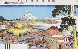 TC Ancienne JAPON / NTT 290-020 - Peinture - MONT FUJI -Mountain -- Painting JAPAN Front Bar Phonecard - Japan