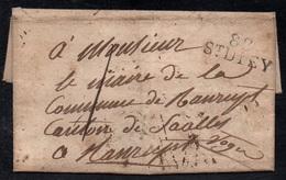 """SAINT DIE - VOSGES / 1822 MP """"St DIEY"""" SUR LAC POUR RANRUPT (ref 8103) - 1801-1848: Precursors XIX"""