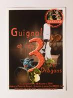 GUIGNOL LYON / MARIONNETTE - Instrument Cuisine / Guignol De Dos Cuisinier - Guignol Et 3 Dragons - Carte Publicitaire - Jeux Et Jouets