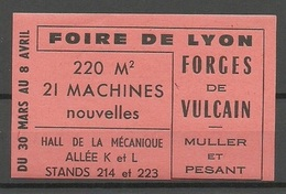 FRANCE Foire De Lyon Forges De Vulcain Vignette Advertising Stamp Reklamemarke MNH - Erinnophilie